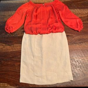 EUC linen pencil skirt